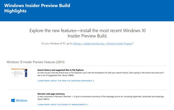 Features in the latest Windows 10 Insider Preview Build