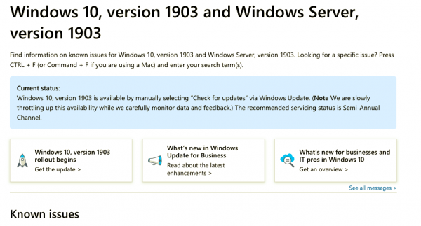 Known issues with Windows 10 v1903 May 2019 Update