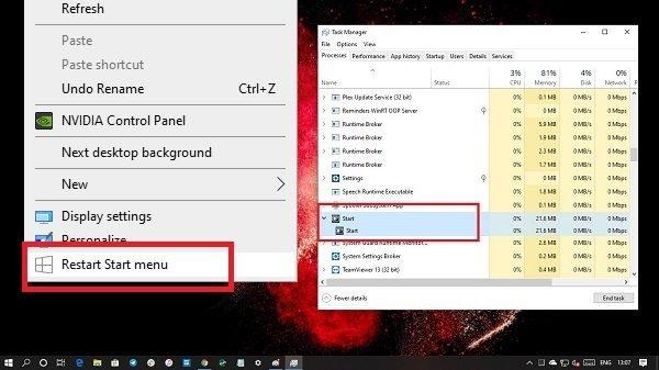 Add Restart Start Menu to Desktop Contex
