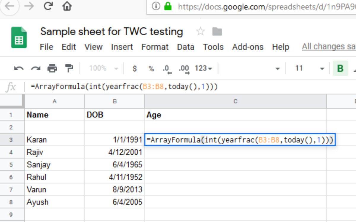 How to calculate age from date of birth with formulas in Google Sheets