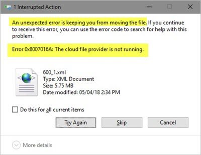 An unexpected error is keeping you from copying the file