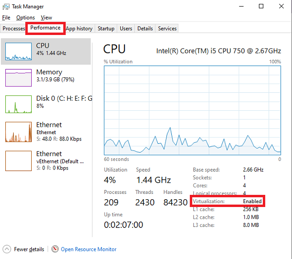 Check Virtualization via Task Manager