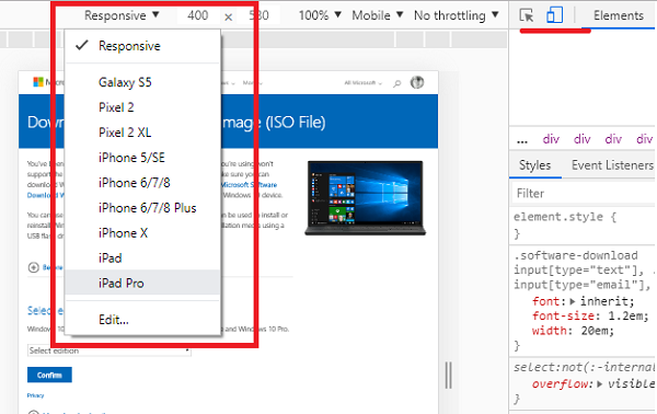 Download Windows 10 ISO Image directly in Chrome