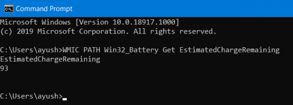 How to check Battery level using Command line in Windows 10