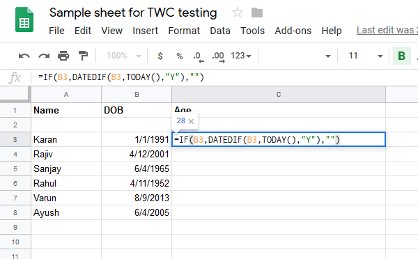 Calculate age from date of birth with formulas in Google Sheets