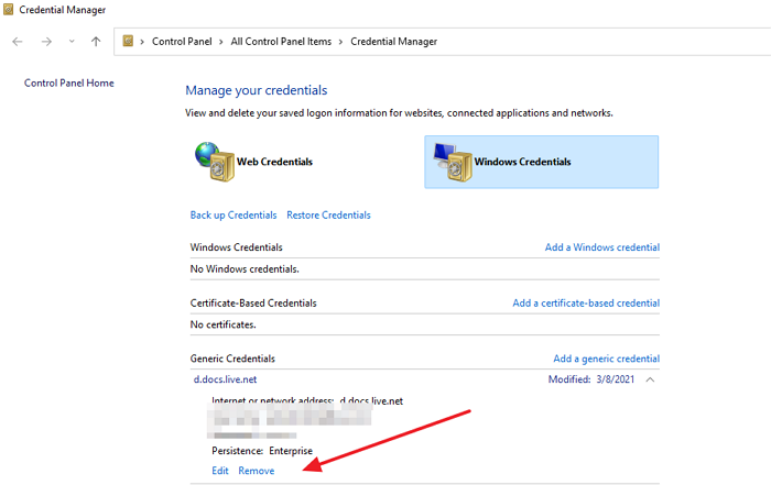 Delete RDP from Credential Manager