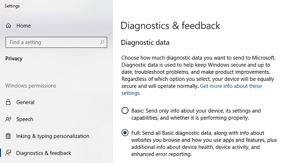 Enable Full Diagnostic Data in Windows 10
