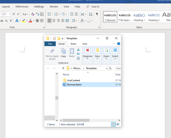 Font Settings cannot remember Office Word