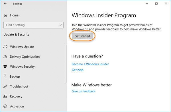 Get started button greyed out – Cannot get Windows Insider Preview Builds