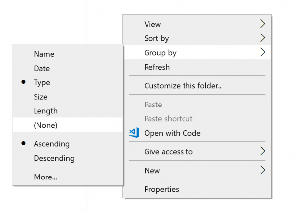 Disable File Grouping in Explorer
