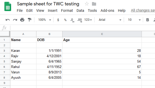List of ages by DATEDIF formula