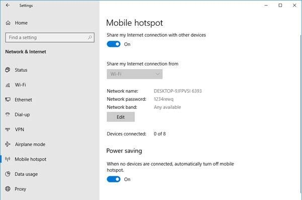 stop Mobile hotspot from Turning off
