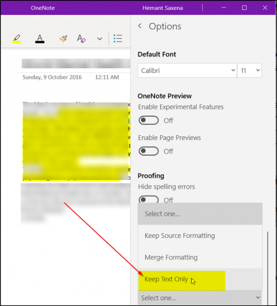 Force OneNote to paste plain text only without formatting