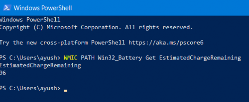 Check Battery level using command line