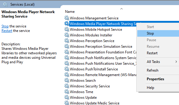 Windows Media Player Network Sharing Service Disable