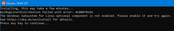 WslRegisterDistribution failed with error 0x8000000d error for WSL