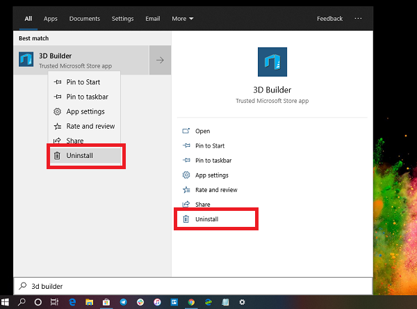 D objects or download additional ones from Microsoft How to uninstall 3D Builder App inward Windows 10