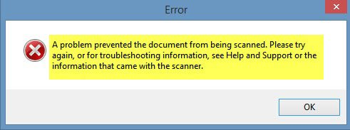 A problem prevented the document from being scanned