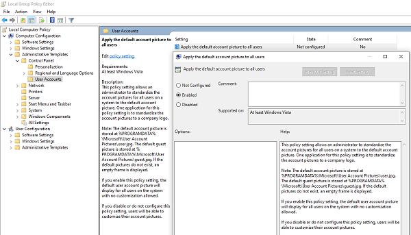 Apply Group Policy to use default account image to all