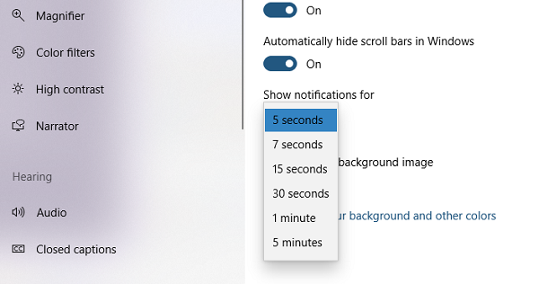 decrease or increase the Windows 10 notification display time