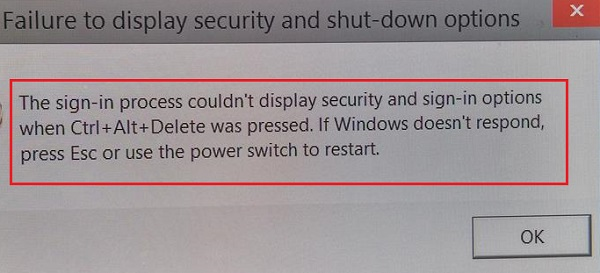 Failure to display security and shutdown options