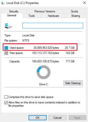 Hard drive showing wrong free space in Windows 10