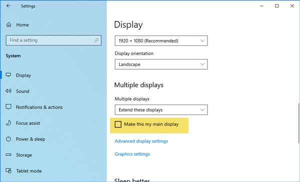 How to change primary and secondary monitors on Windows 10