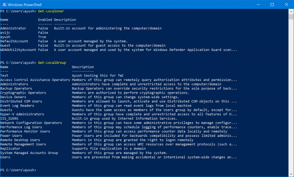 How to manage Local Users and Groups using Windows PowerShell