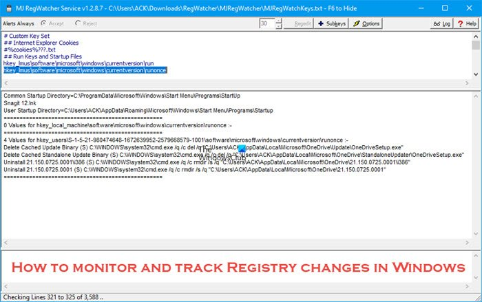 How to monitor and track Registry changes in Windows