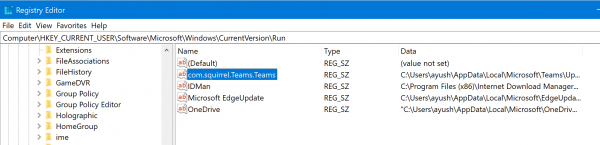 How to prevent Microsoft Teams running on startup using Registry Editor