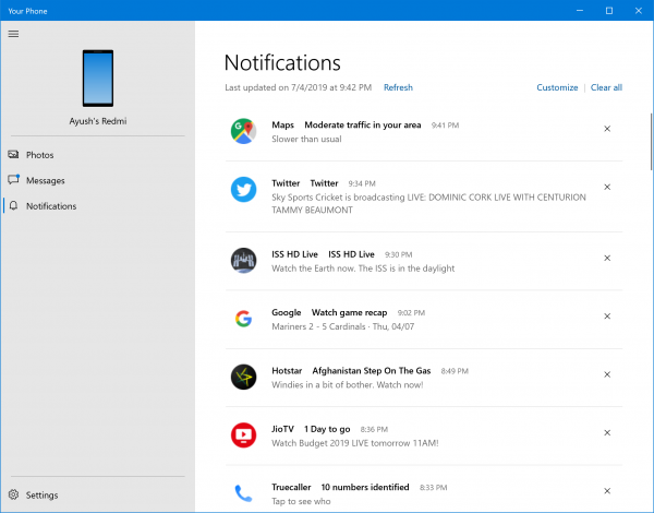 How to setup and manage Your Phone to get notifications from Android