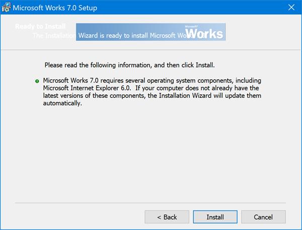 Install & run Microsoft Works on Windows 10