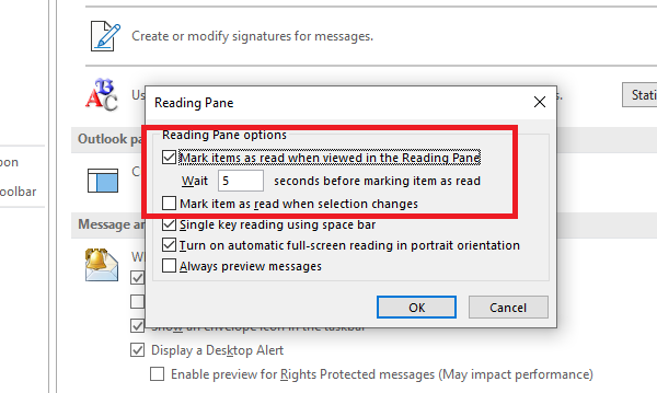 Mark Items as read in Outlook