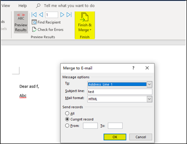 Email Merge in Outlook