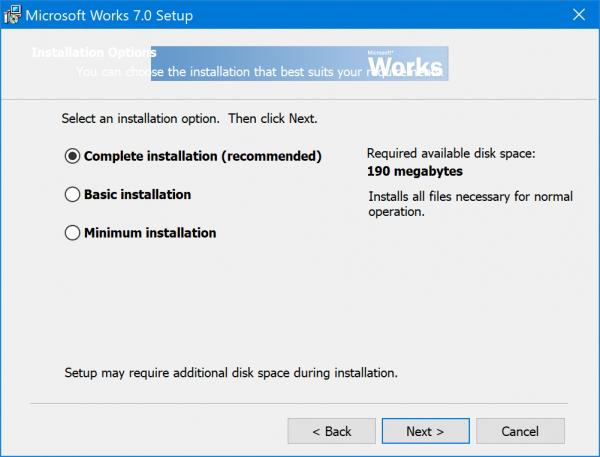 Microsoft Works on Windows 10