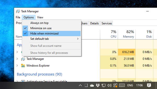 Hide Task Manager to System tray