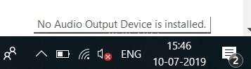 No Audio Output Device is Installed error in Windows 10