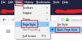 Reset the page style of the web page