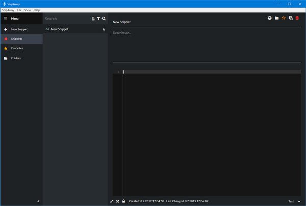 SnipAway: free code editor for Windows with dark theme