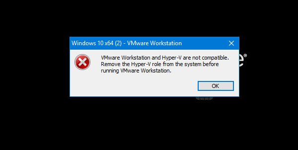 VMware Workstation and Hyper-V are not compatible