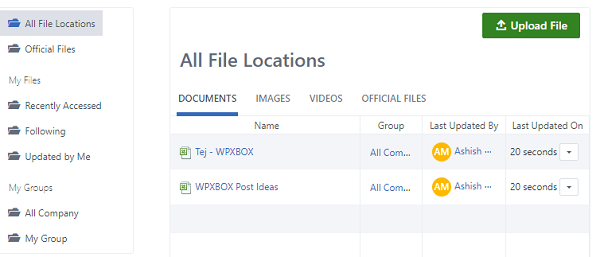Yammer File locations