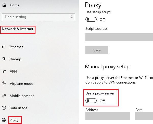 Disable manual proxy