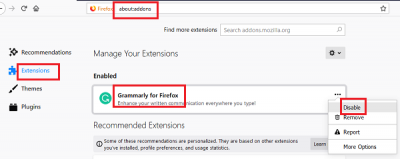 Disable suspicious extensions