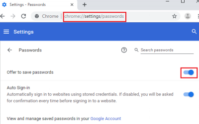 Enable the setting which offers to save password