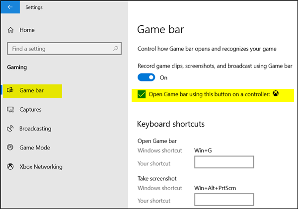 Enable Open Xbox Game Bar using Game Controller