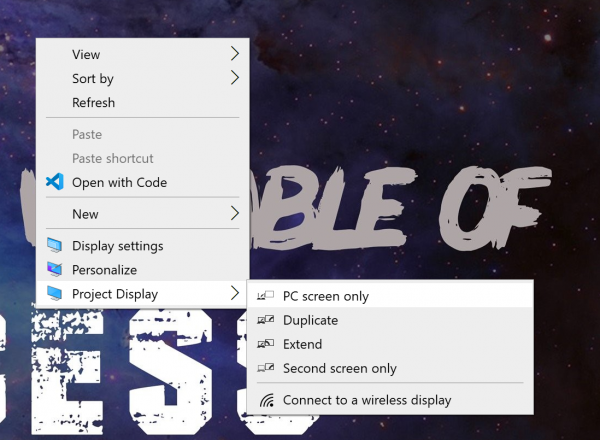 Add Project Display item to Context Menu