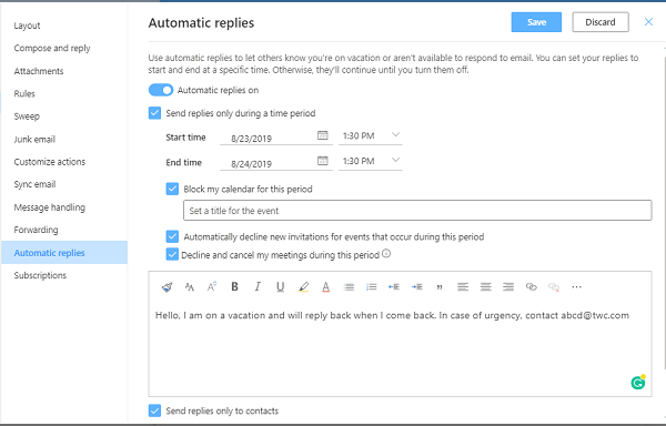 up Automatic Replies or Vacation Reply in Outlook