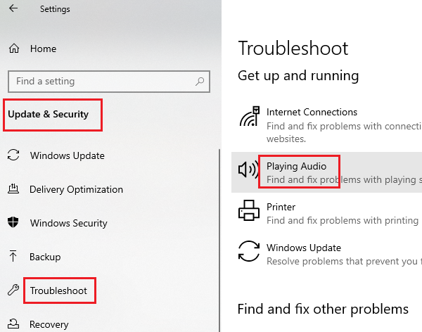 Run the Playing Audio troubleshooter
