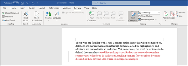 Delete button does not show strikethrough when Track Changes is enabled in Word