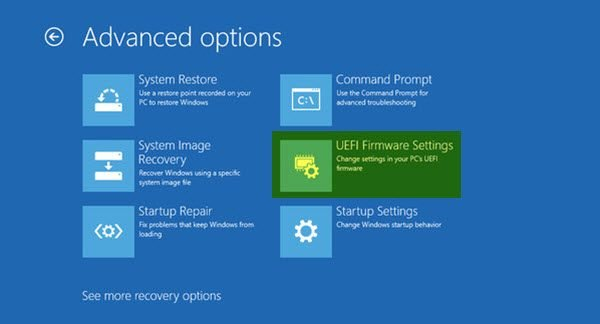 How to boot Windows into UEFI or BIOS firmware